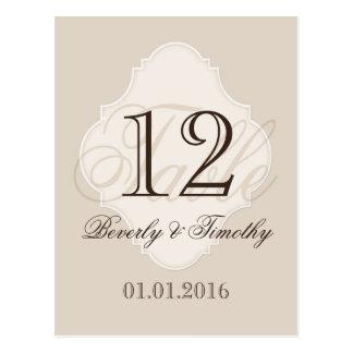 Hochzeits-Tischnummer-Karte beige Postkarte