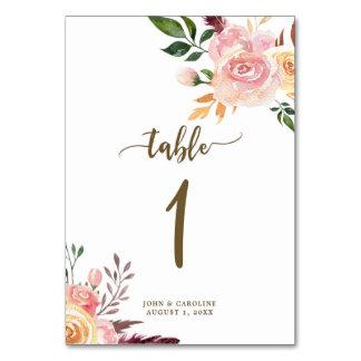 Hochzeits-Tischnummer-Karte boho mit Blumen Karte