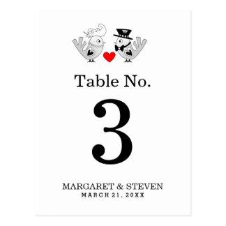 Hochzeits-Tischnummer-Karten-schwarze u. weiße Postkarte