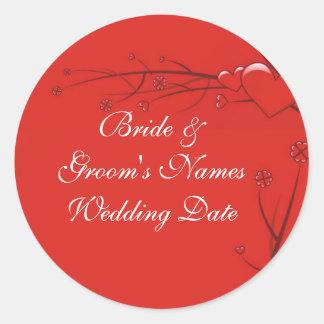 Hochzeits-Umschlag Aufkleber-Aufkleber-Schablone Runder Aufkleber