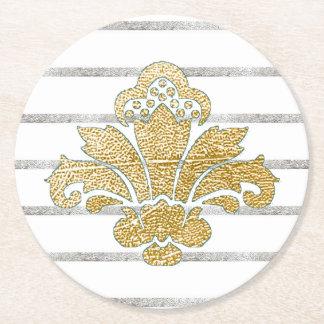 Hochzeits-Untersetzer-Imitat-Gold/silberner Damast Runder Pappuntersetzer