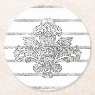 Hochzeits-Untersetzer-Imitat-silbernes Damast Runder Pappuntersetzer