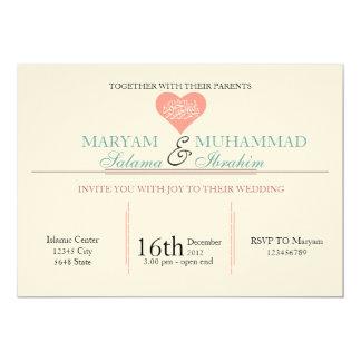 Hochzeits-Verlobungsrosa des islamischen Islams 12,7 X 17,8 Cm Einladungskarte
