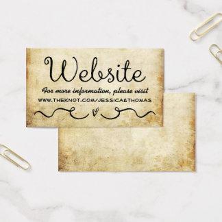 Hochzeits-Website-Karte| Vintager antiker Grunge Visitenkarte