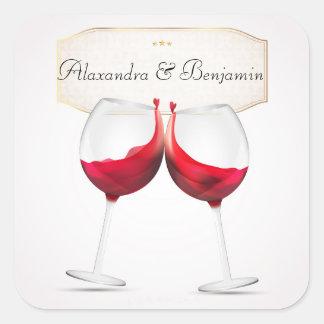 Hochzeits-Wein-Flaschen-Aufkleber Quadratischer Aufkleber