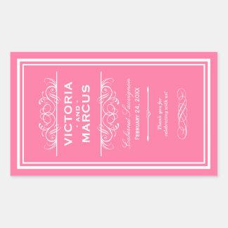 Hochzeits-Wein-Flaschen-Monogramm-Bevorzugungs-Auf Rechteckige Aufkleber