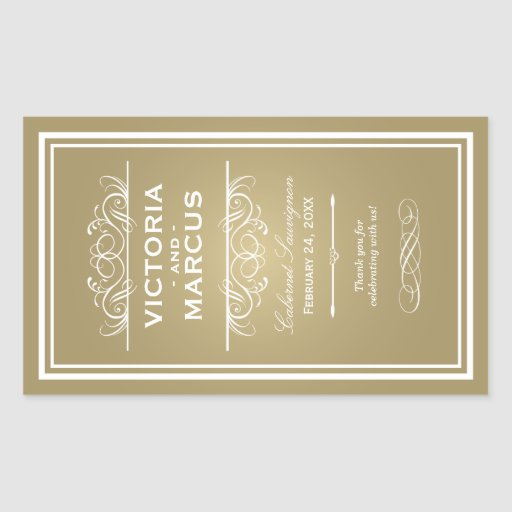 Hochzeits-Wein-Flaschen-Monogramm-Bevorzugungs-Auf Rechteckige Sticker