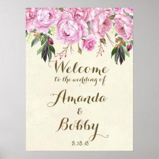 Hochzeits-Willkommensschildlila Blumenlavendel Poster