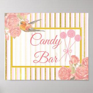Hochzeits-Zeichen für Süßigkeits-Bar, rosa Poster