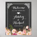 Hochzeits-Zeichen-noble Vintage Tafel mit Blumen Poster