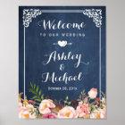 Hochzeits-Zeichen-Vintage blaue Tafel mit Blumen Poster