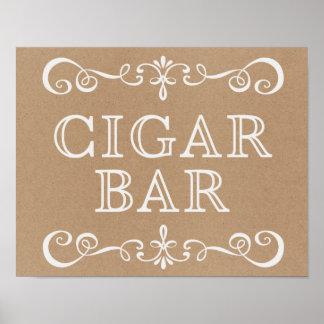 Hochzeits-Zeichen - Zigarren-Bar-rustikales Poster