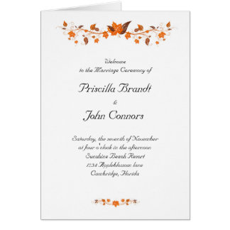 Hochzeits-Zeremonie-Programm, Herbstlaubthema Karte