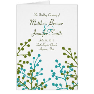 Hochzeits-Zeremonie-Programm und Auftrag der Grußkarte