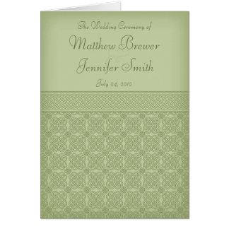 Hochzeits-Zeremonie-Programm und Auftrag der Karte
