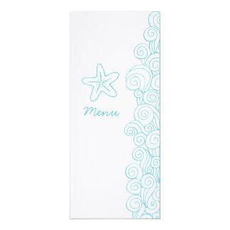 Hochzeitsabendessenmenü SeeWirbel Starfish blaues 10,2 X 23,5 Cm Einladungskarte