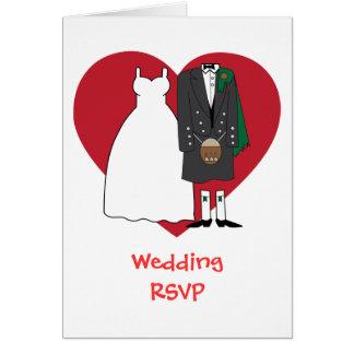 Hochzeitsannahme schottische Braut u. Bräutigam Grußkarte