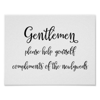 Hochzeitsbadezimmerkorb-Zeichen   Herren Poster