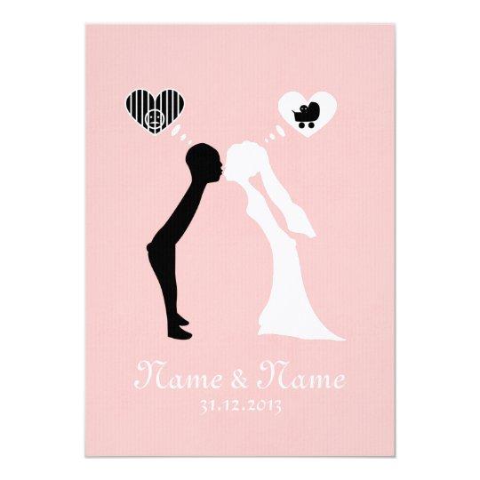 Hochzeitseinladung: Kuss in die gemeinsame Zukunft Karte