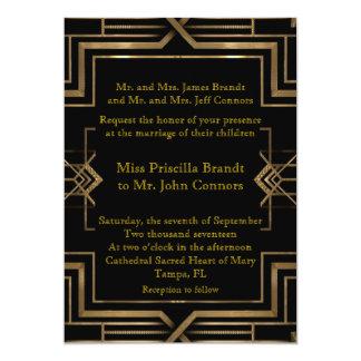 Hochzeitseinladungsschwarzes u. -gold, groß-Gatsby 12,7 X 17,8 Cm Einladungskarte