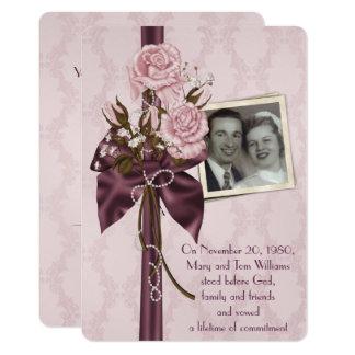 Hochzeitsjahrestag Party-erröten Rosen und Damast 12,7 X 17,8 Cm Einladungskarte