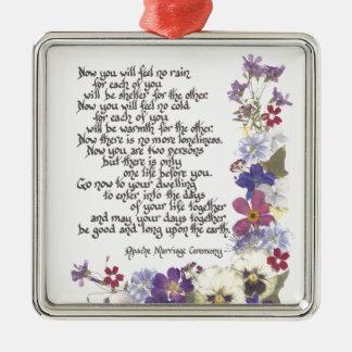 Hochzeitskarten und -geschenke quadratisches silberfarbenes ornament