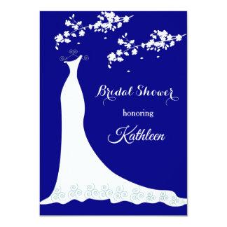 Hochzeitskleid, Blüte auf Marineblau, Brautparty Karte