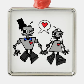 Hochzeitsroboter Silbernes Ornament