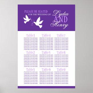 Hochzeitssitzplatz-Tabellenplan 1-9 der weißen Poster