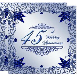 Hochzeitstag 5.25x5.25 des Saphir-45. laden ein Quadratische 13,3 Cm Einladungskarte