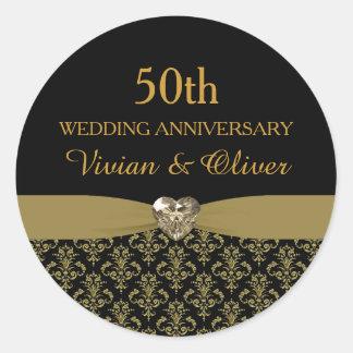 Hochzeitstag-Aufkleber des Golddamast-50. Runder Aufkleber