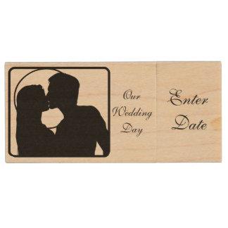 Hochzeitstag-Bild-wirklicher hölzerner greller Holz USB Stick 2.0