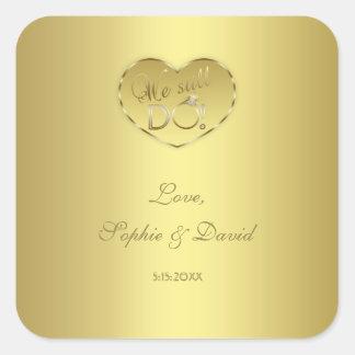 Hochzeitstag des Gold50. TUN wir noch Quadratischer Aufkleber