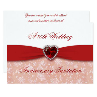 Hochzeitstag-Einladung des Damast-40. 12,7 X 17,8 Cm Einladungskarte