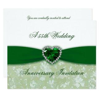 Hochzeitstag-Einladung des Damast-55. 10,8 X 14 Cm Einladungskarte