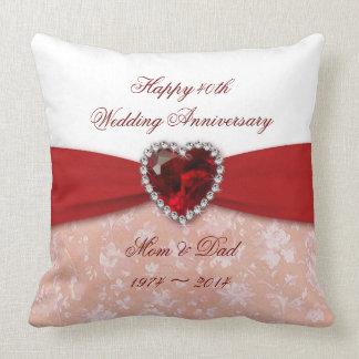 Hochzeitstag-Entwurf des Damast-40. Kissen