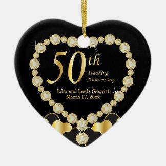 Hochzeitstag fünfzig keramik Herz-Ornament