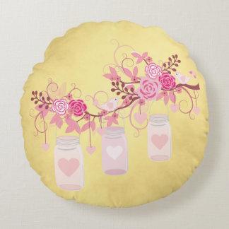 Hochzeitstag-Geschenk-Gold und Rosa Rundes Kissen