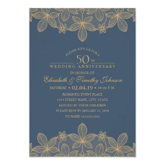 Hochzeitstag-goldene Spitze des Marine-Blau-50. 12,7 X 17,8 Cm Einladungskarte