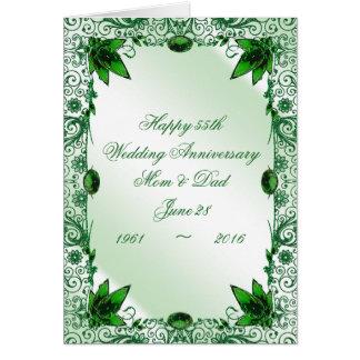 Hochzeitstag-Gruß-Karte des Smaragd-55. Karte