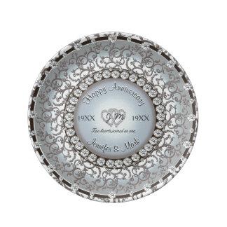 Hochzeitstag-Monogramm-Platte Teller Aus Porzellan