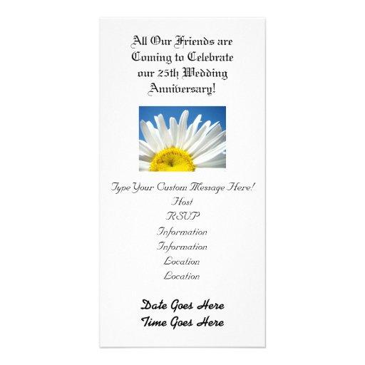 Hochzeitstag! Party Einladungs-weißes Gänseblümche Individuelle Foto Karte