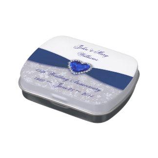 Hochzeitstag-Süßigkeits-Zinn des Damast-45. Jelly Belly Dosen