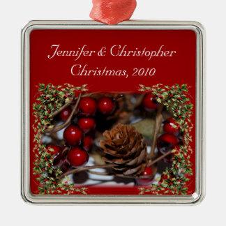 Hochzeitstag-Weihnachten Quadratisches Silberfarbenes Ornament