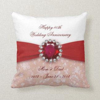 Hochzeitstag-Wurfs-Kissen des Damast-40. Zierkissen