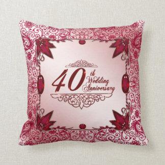 Hochzeitstag-Wurfs-Kissen des Rubin-40. Zierkissen