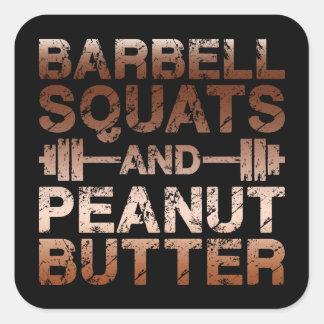 Hocken und Erdnussbutter - Bodybuliding Motivation Quadratischer Aufkleber