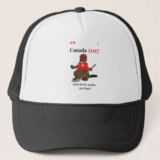 Hockey-Felsen Kanadas 150 im Jahre 2017 an Truckerkappe