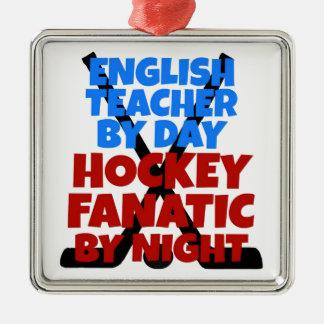 Hockey-Liebhaber-Englischlehrer Silbernes Ornament