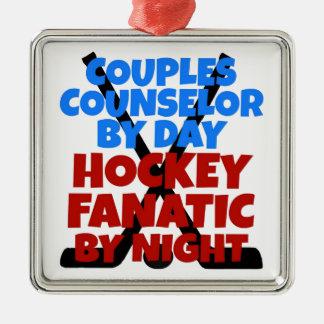 Hockey-Liebhaber verbindet Ratgeber Silbernes Ornament